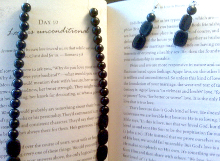 blackstone necklace and earrings